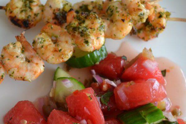 Thaise garnalen met salsa